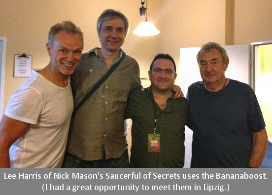 Lee Harris of Nick Masons Saucerful of Secrets uses the Bananaboost.