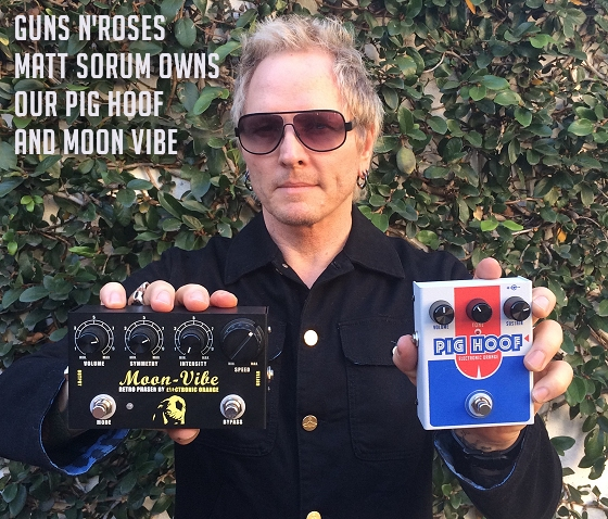 Guns N Roses Matt Sorum enjoys Electronic Orange pedals